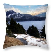 Land With A View Painterly Throw Pillow