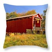 Landis Mill Covered Bridge Throw Pillow
