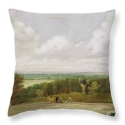 Landscape - Ploughing Scene In Suffolk Throw Pillow