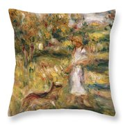 Landscape With A Woman In Blue Throw Pillow