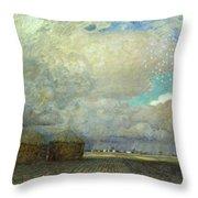 Landscape With Huts Throw Pillow by Leopold Karl Walter von Kalckreuth