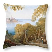 Landscape With View Of Lerici Throw Pillow