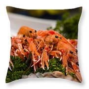 Langoustines At The Market Throw Pillow