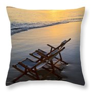 Lanikai Chairs At Sunrise Throw Pillow
