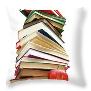 Large Pile Of Books Isolated On White Throw Pillow
