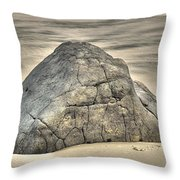 Large Rock On The Beach Throw Pillow