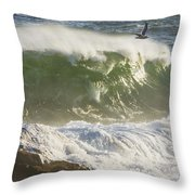 Large Waves And Seagulls Near Pemaquid Point On Maine Throw Pillow