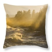 Large Waves Lightbeams Pemaquid Point Maine Throw Pillow