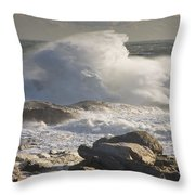 Large Waves Near Pemaquid Point On The Coast Of Maine Throw Pillow