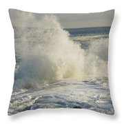 Large Waves On Rocky The Coast Maine Throw Pillow