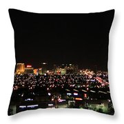 Las Vegas Nevada Nighttime Skyline Throw Pillow