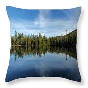 Lassen Summit Lake Reflections Throw Pillow