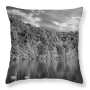 Late Afternoon At The Lake - Bw Throw Pillow