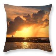 Late Afternoon Beach Walk Throw Pillow