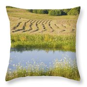 Late Summer Hay Being Harvested In Maine Canvas Poster Print Throw Pillow