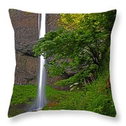 Latourell Falls Oregon - Posterized Throw Pillow