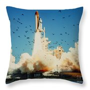 Launch Of Space Shuttle Challenger 51-l Throw Pillow