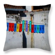 Laundry Clips Throw Pillow