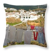 Laundry Day In Azores Throw Pillow