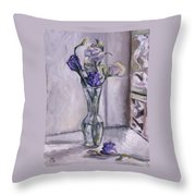 Lavender Flowers In A Glass Vase With Glass Block Window Throw Pillow