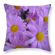 Lavender Mum Bouquets Throw Pillow