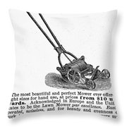 Lawn Mower Ad, 1878 Throw Pillow