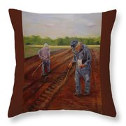 Laying Off Rows Throw Pillow