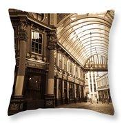 Leadenhall Market London Sepia Toned Image Throw Pillow