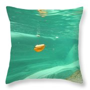 Leaf Floating Under The Water Throw Pillow