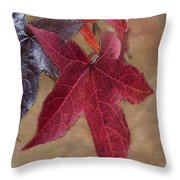 Leaf In Red Throw Pillow