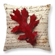 Leaf On Letter Throw Pillow
