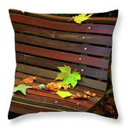 Leafs In Bench Throw Pillow