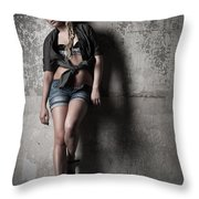 Lean Against The Wall Throw Pillow