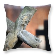 Leaning Cross At Cemetery Throw Pillow