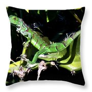 Leapin Lizards Throw Pillow by Karen Wiles