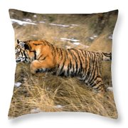 Leaping Siberian Tiger Throw Pillow