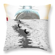 Leaping Through Time Throw Pillow by Jimi Bush
