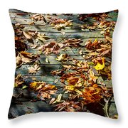 Leaves On The Boardwalk Throw Pillow