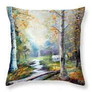 Leaving The Woodland Creek  Throw Pillow