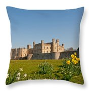 Leeds Castle In Spring 2 Throw Pillow