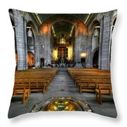 Leeds Cathedral Baptismal Font And Nave Throw Pillow