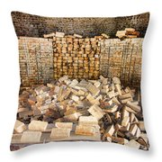 Left Over Brick In Antique Brick Kiln Throw Pillow