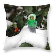 Lego Mini Eskimo In Holly  Throw Pillow