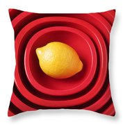 Lemon In Red Bowls Throw Pillow by Garry Gay
