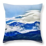 Lenticular And The Chugach Mountains Throw Pillow