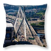 Leonard Yakim Bunker Hill Memorial Bridge Throw Pillow