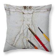 Leonardo Artwoork And Brushes Throw Pillow by Garry Gay