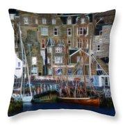 Lerwick Harbour Shetland Throw Pillow