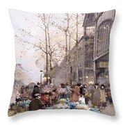 Les Halles And St. Eustache Throw Pillow