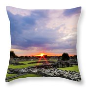 Lesnes Abbey Ruins Sunset Throw Pillow